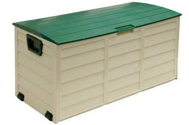 gartentruhe xxl in weiss aus kunststoff kunststoff gartenbox With französischer balkon mit aufbewahrungsboxen kunststoff mit deckel für garten